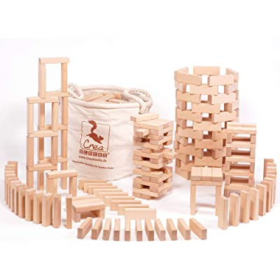 CreaBLOCKS Lot de 200 Blocs de Construction en Bois Non traités dans Un Sac en Coton Robuste fabriqué en Allemagne: Juguetes y juegos