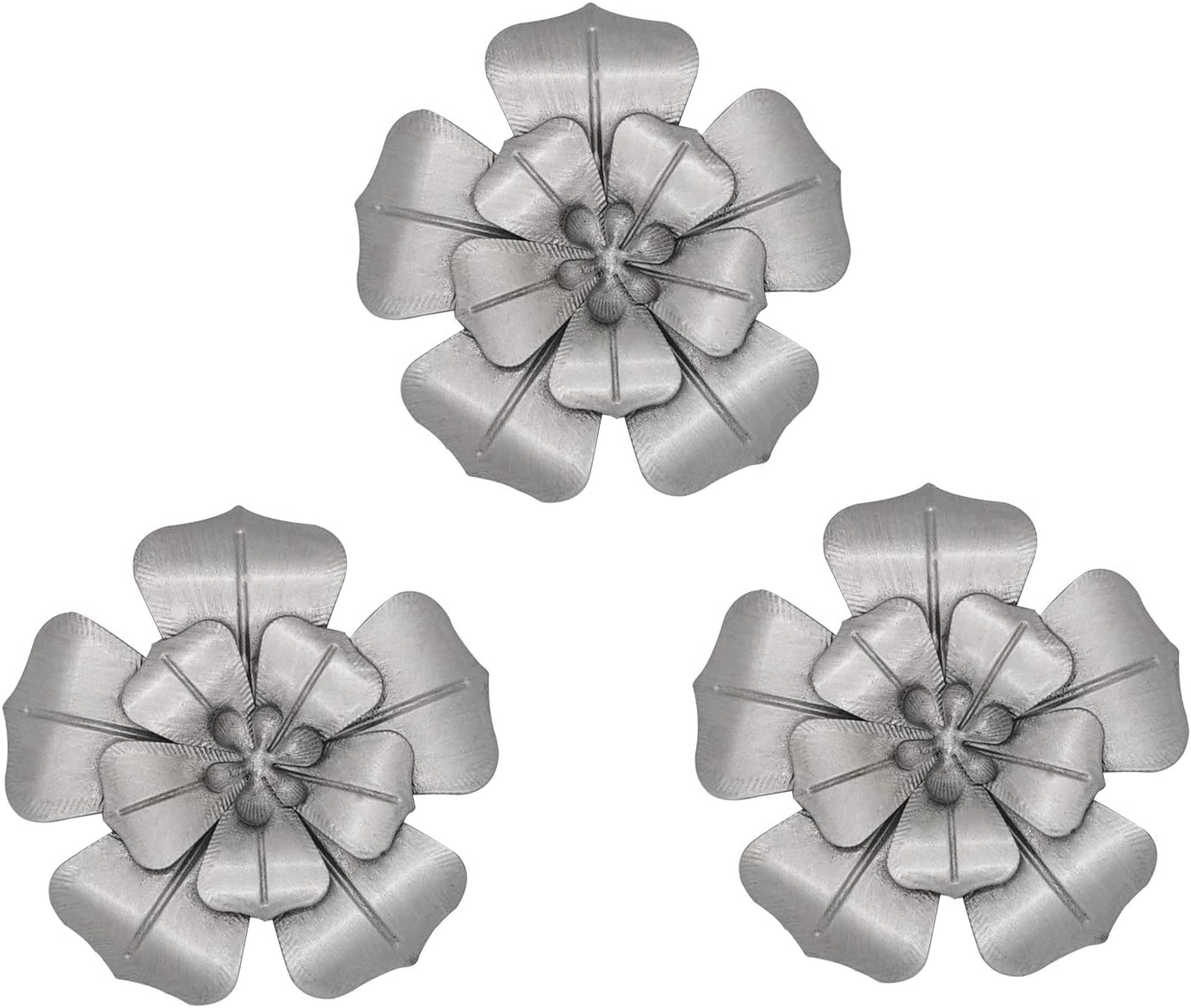 6 Inch Multiple Layer Metal Flower Wall Art Decor for Bedroom,Living Room Set of 3(sliver)