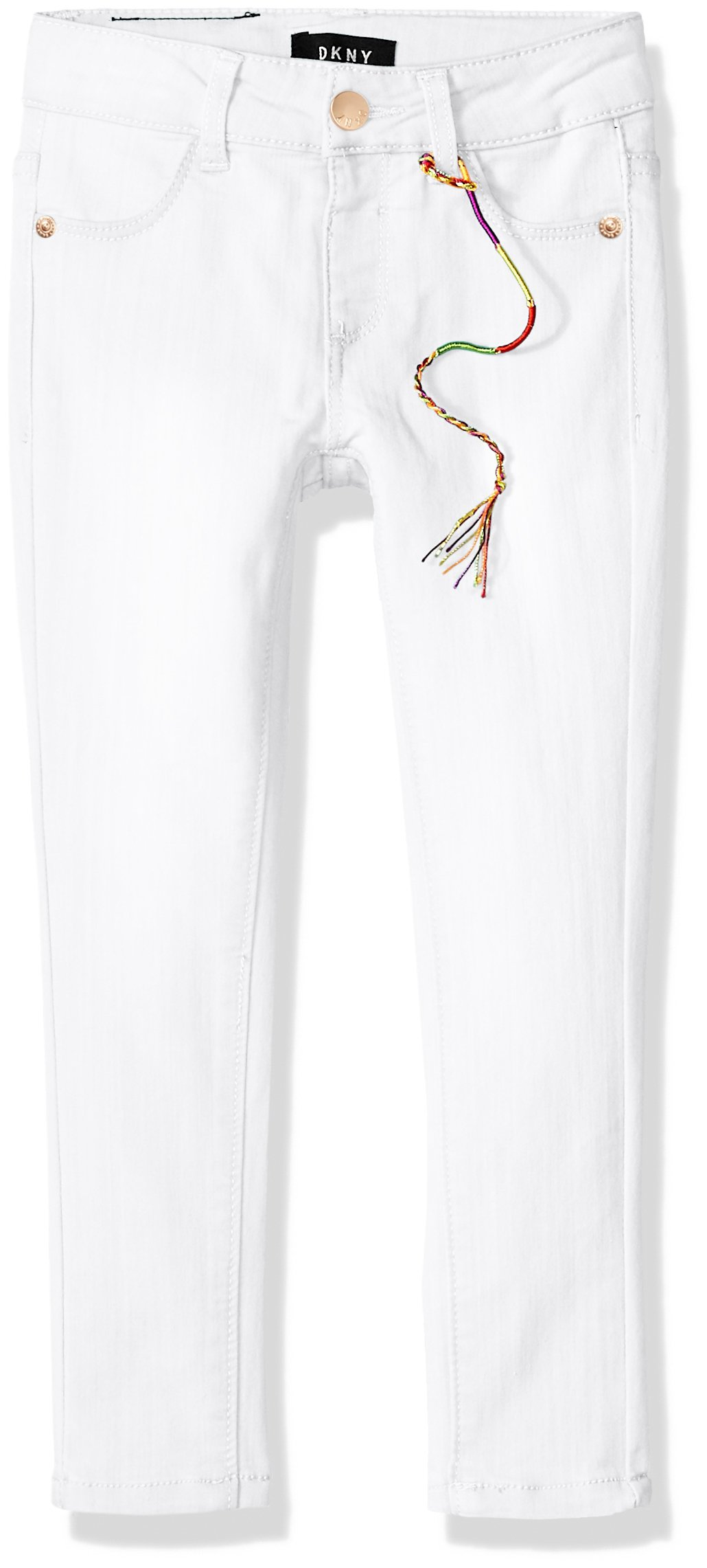 DKNY Little Girls' Jean, Colored Jegging White, 5