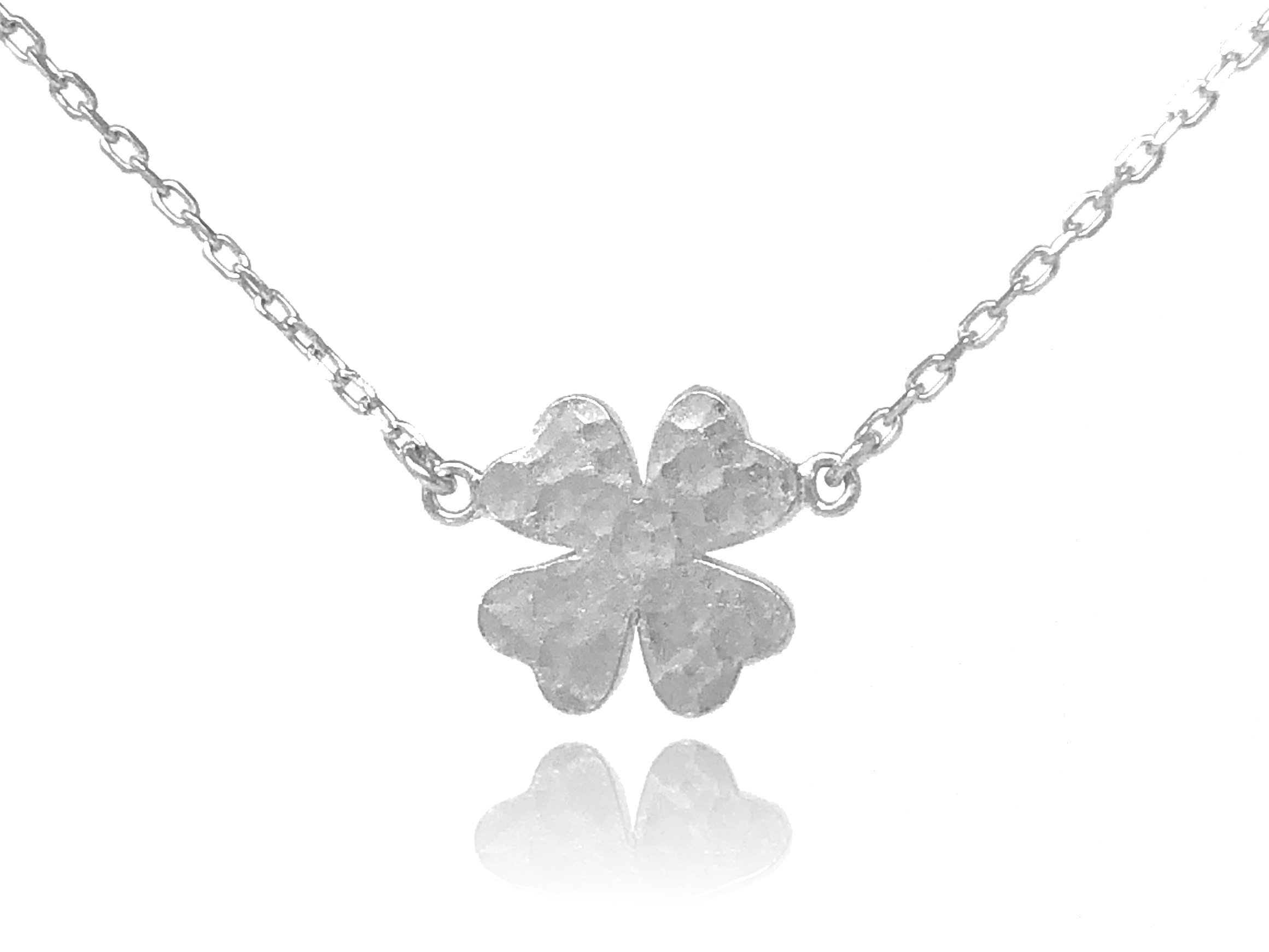 Dote Lucky Four-Leaf Clover Pendant Dainty Genuine .925 Sterling Silver Hammered Necklace w/16-18 Adjustable Chain