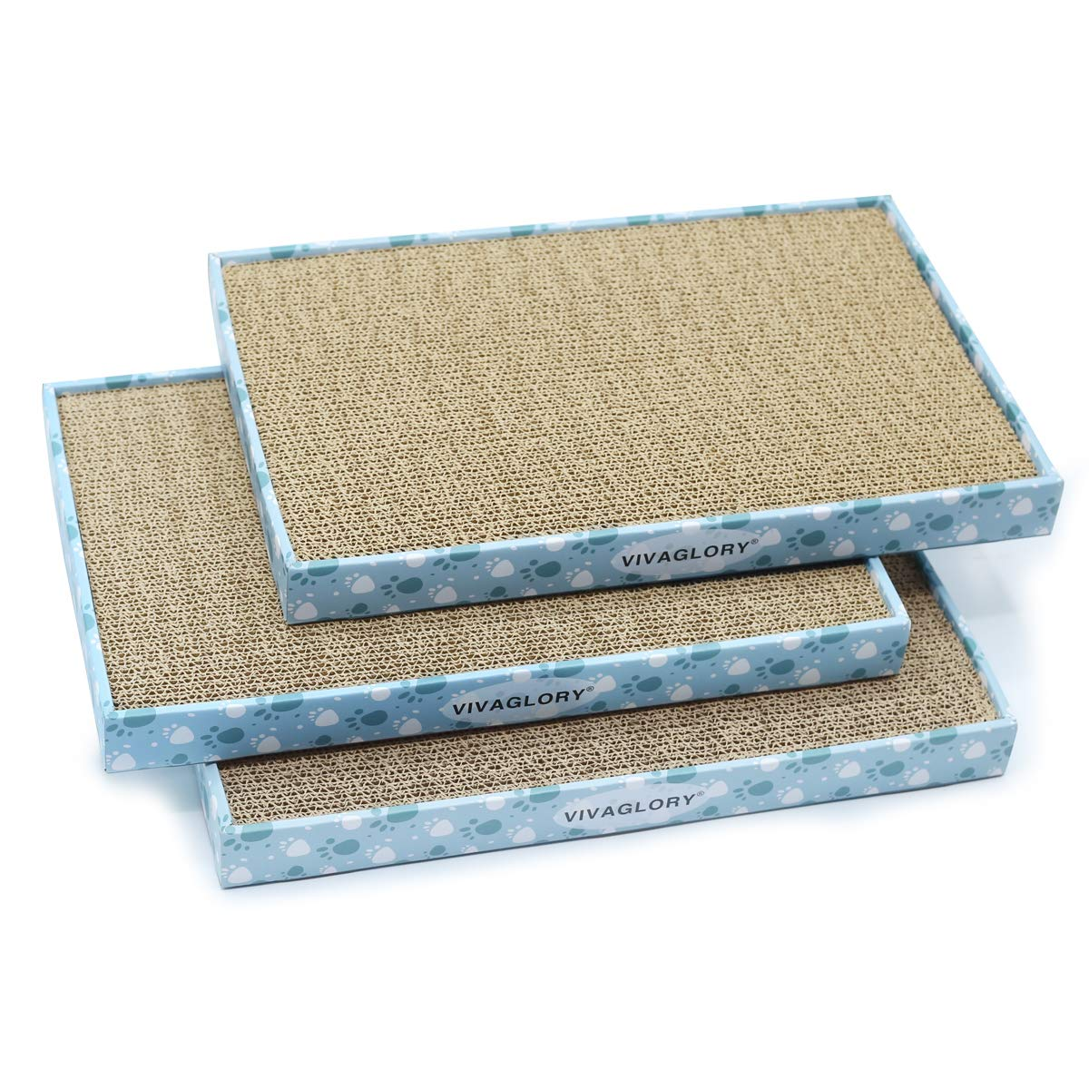 Vivaglory Cat Scratcher Extra Wide with Box of 3 Pack, Reversible Cat Scratching Pad Kitty Corrugated Cardboard Sofa Lounge, Catnip Included by Vivaglory