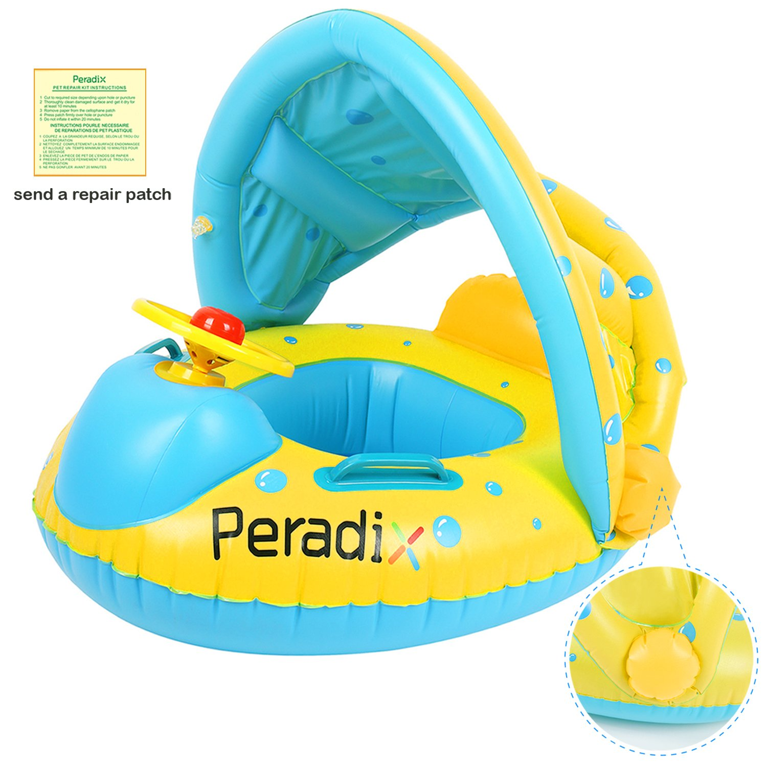 Peradix Infant Pool Float with Canopy Inflatable Baby Water Float Boat with Sunshade for Pool Swimming