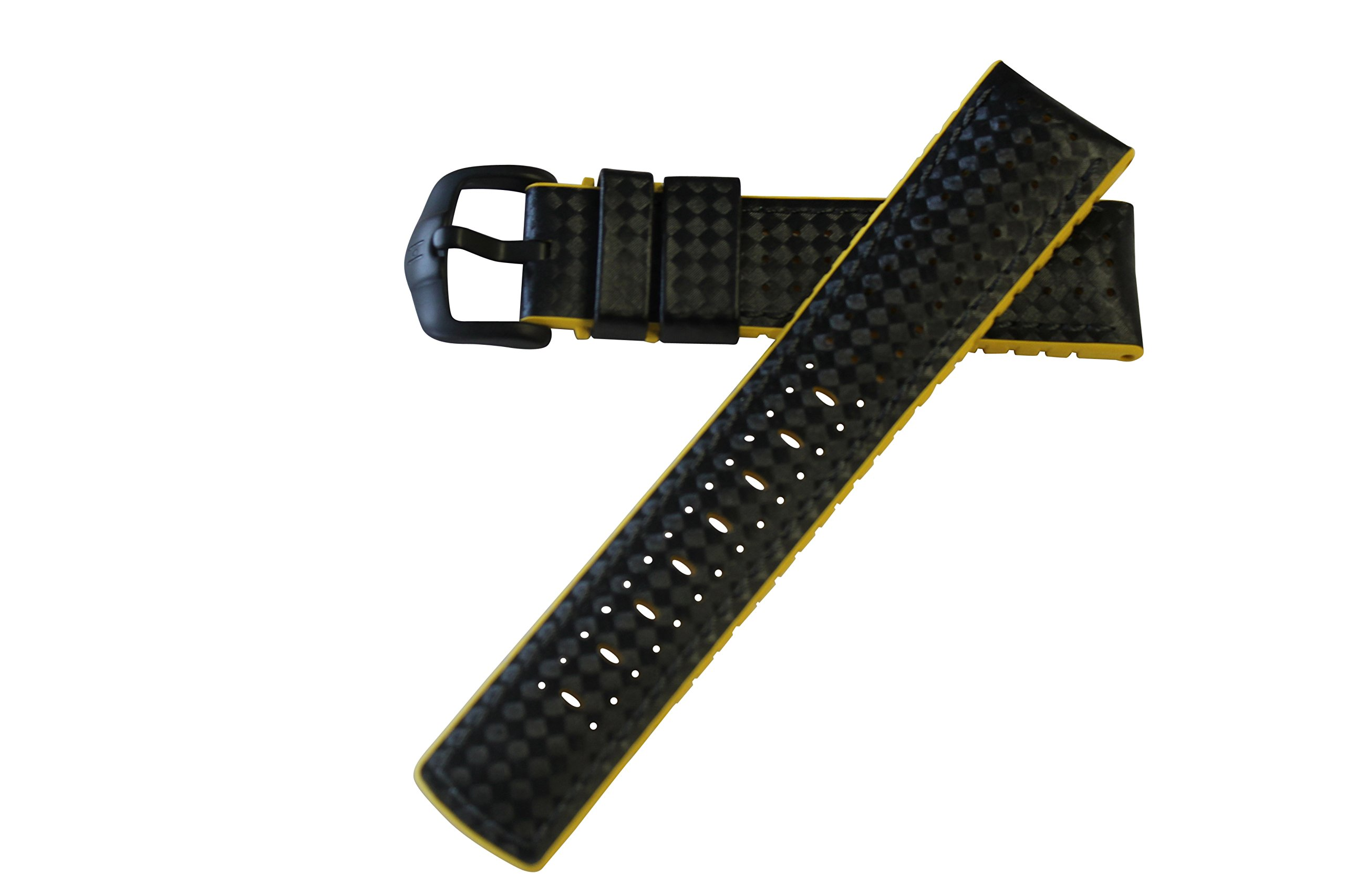 Hirsch Performance ARYTON Carbon Fiber Leather Sport Watch Strap Rubber Lining Black w/Yellow Lining 20mm