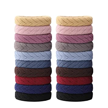 5 Pieces Large Hair Ties Bands Rope Seamless Cotton Stretch Ponytail Holders...