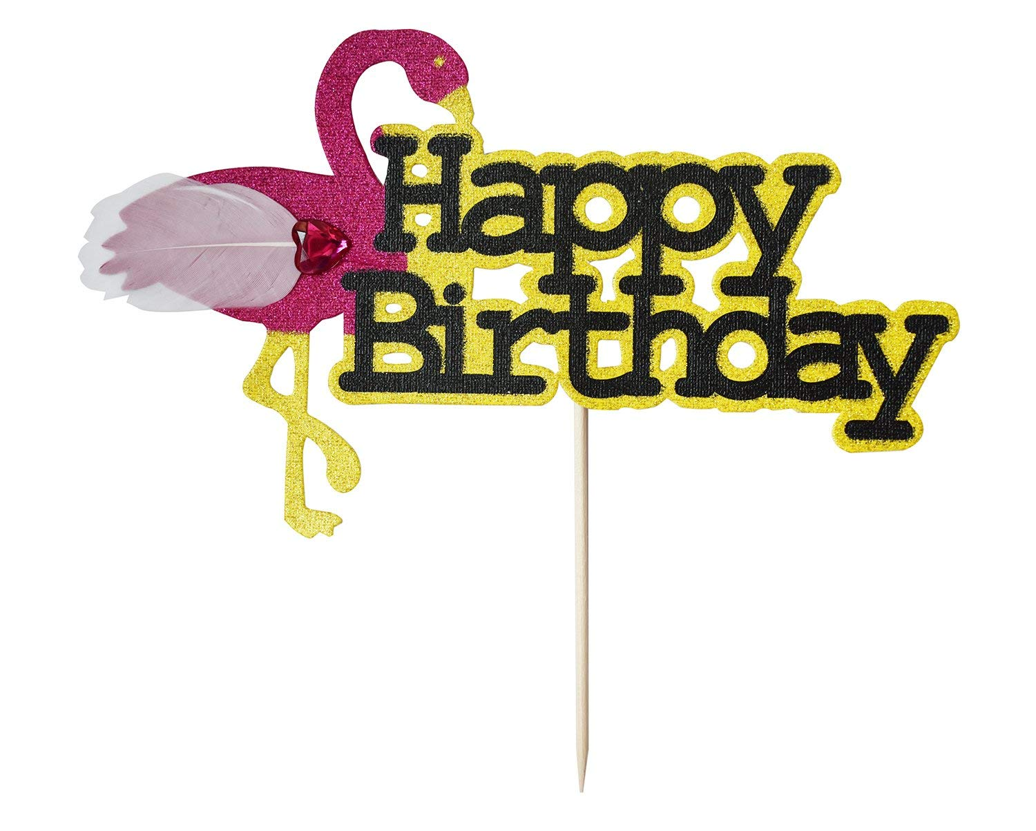 Brcohco HAPPY Birthday Cake Topper Decoration Gold Glitter