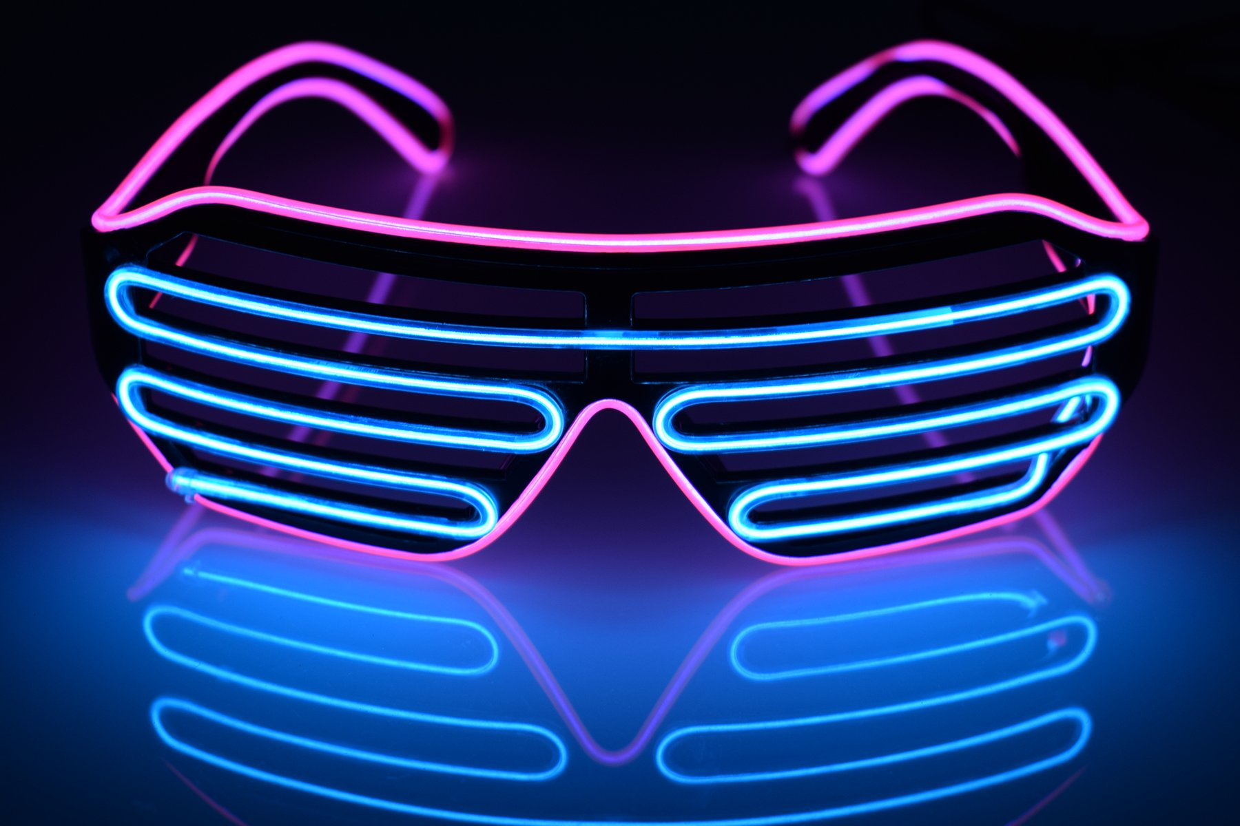 LED Flash Light Up Blinds Glasses for Kids and Adults in Party Games Activities Halloween, Christmas Gifts (Purple-Blue)