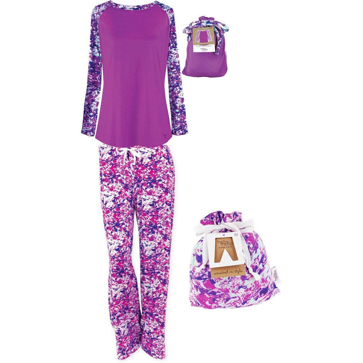 Hello Mello Luxurious Soft Womens Loungewear Set, Top and Pant Matching Set With Drawstring Bag