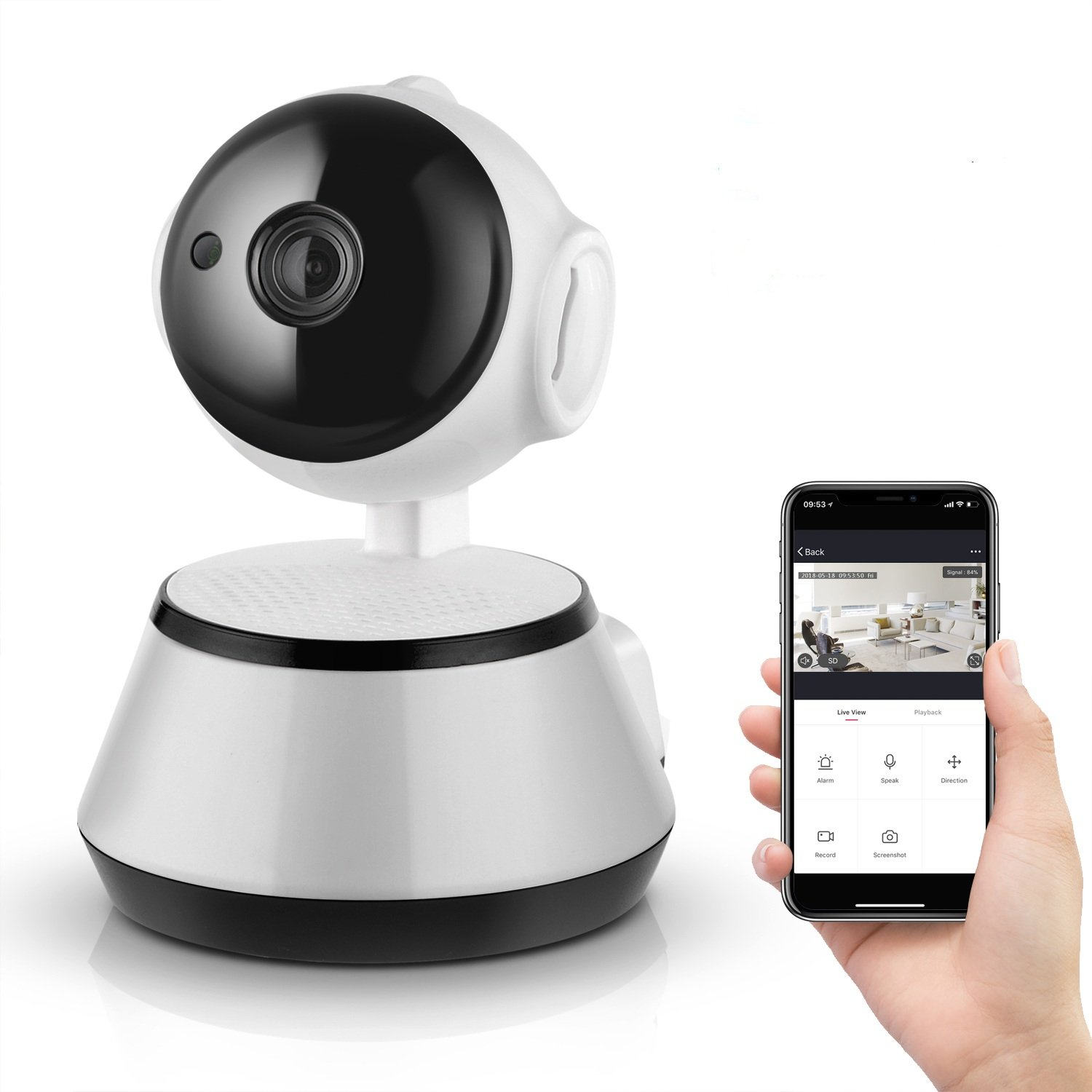BRIHOME 355° Dome Wireless IP Smart Camera, 720P Wi-Fi Home Security Surveillance Camera with Night Vision and Motion Detection for Baby/Elder/Pet/Nanny Monitor with iOS, Android App