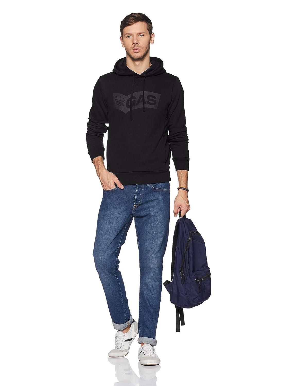 Dettagli su Gas Jeans Felpa SvenS Hood 95295 Brushing Fleece Polu Man Uomo Cappuccio