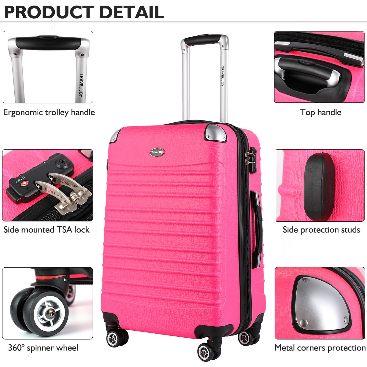 Hardside Carry On Luggage, Lightweight Expandable Spinner Carry Ons TSA Luggage Suitcase, 20 inches (HOT PINK) by Travel Joy (Image #4)