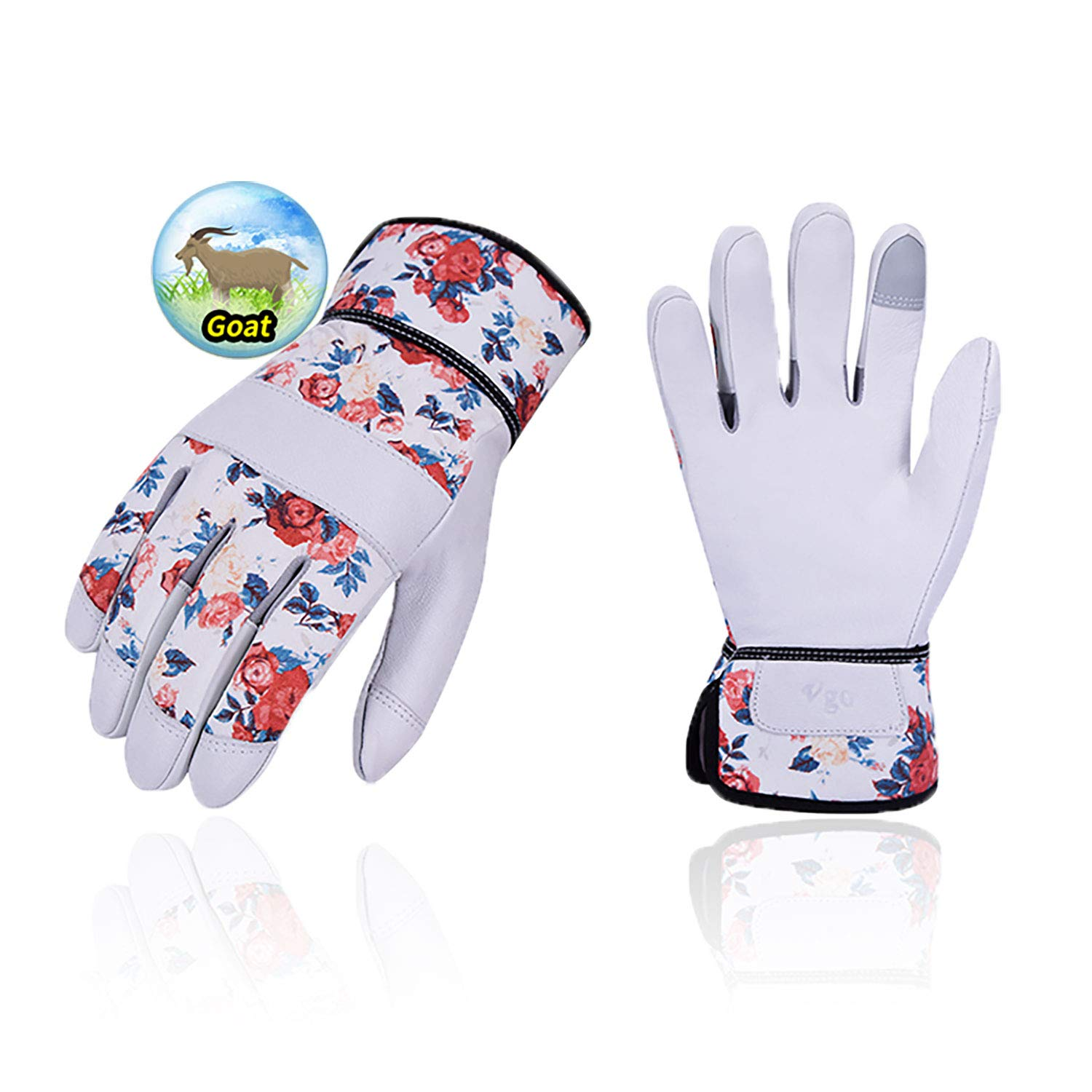 Vgo 1 Pair Premium Goat Leather Gardening Gloves and Pruning Gloves Size S, White, GA3561 Puncture Resistant Touchscreen