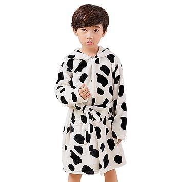 Albornoz infantil franela para 110 - 130 cm Niñas y Niños - Bata con Capucha y cinturón oso/Vaca 110 cm Weiß: Amazon.es: Hogar