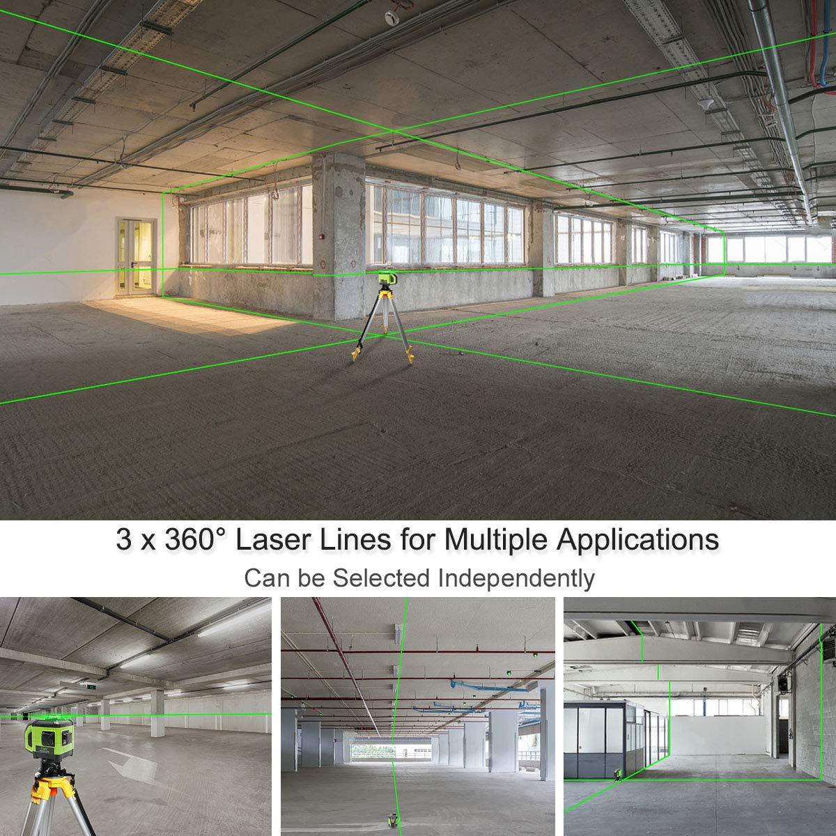 Laser L/ínea con Funci/ón de Doble Pendiente Base de Metal Adaptable y Receptor Incluido DT03CG Nivelaci/ón y Alineaci/ón de 3x360 L/íneas Cruzadas Nivel Laser Electr/ónico Autonivelante de Haz Verde 3D