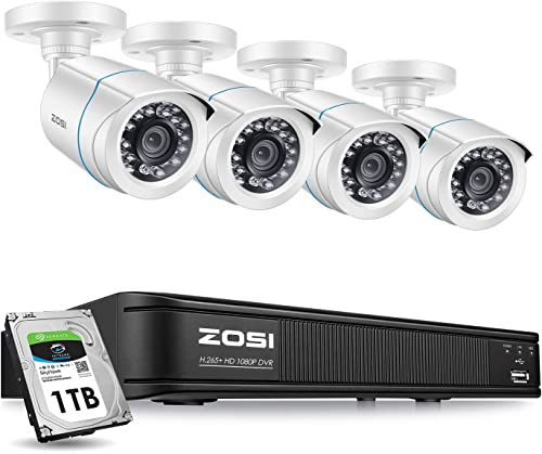 ZOSI H.265 Home Security Camera System 1080p,CCTV DVR 8 Channel with Hard Drive 1TB and 4 x Surveillance Bullet Camera 1080p Outside,Remote Access and Motion Detection