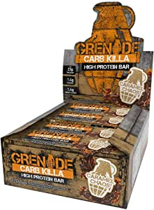 Grenade Carb Killa Protein Bar, Great Tasting High Protein and Low Carb Snack, Caramel Chaos, (Pack of 12), 2.12 oz. bar