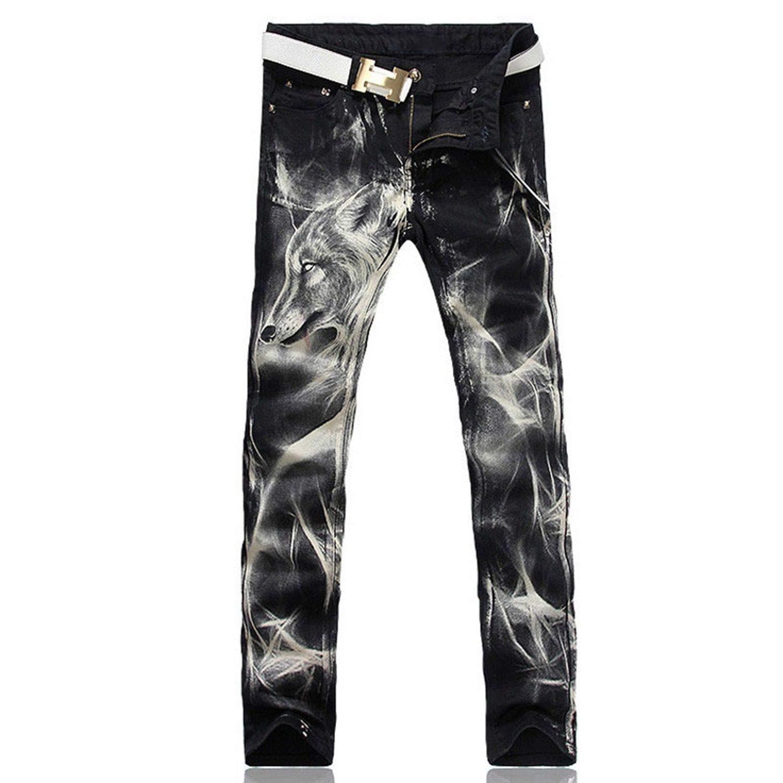 Mens Wolf Printed Jeans Men Slim Straight Black Stretch Jeans