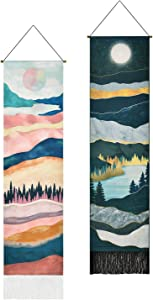 Pack of 2 Mountain Tapestry, Forest Tree Tapestry, Sunset Tapestry, Moon Starry Sky Tapestries, Nature Landscape Tapestry for Room (12.8 x 51.2 inches)