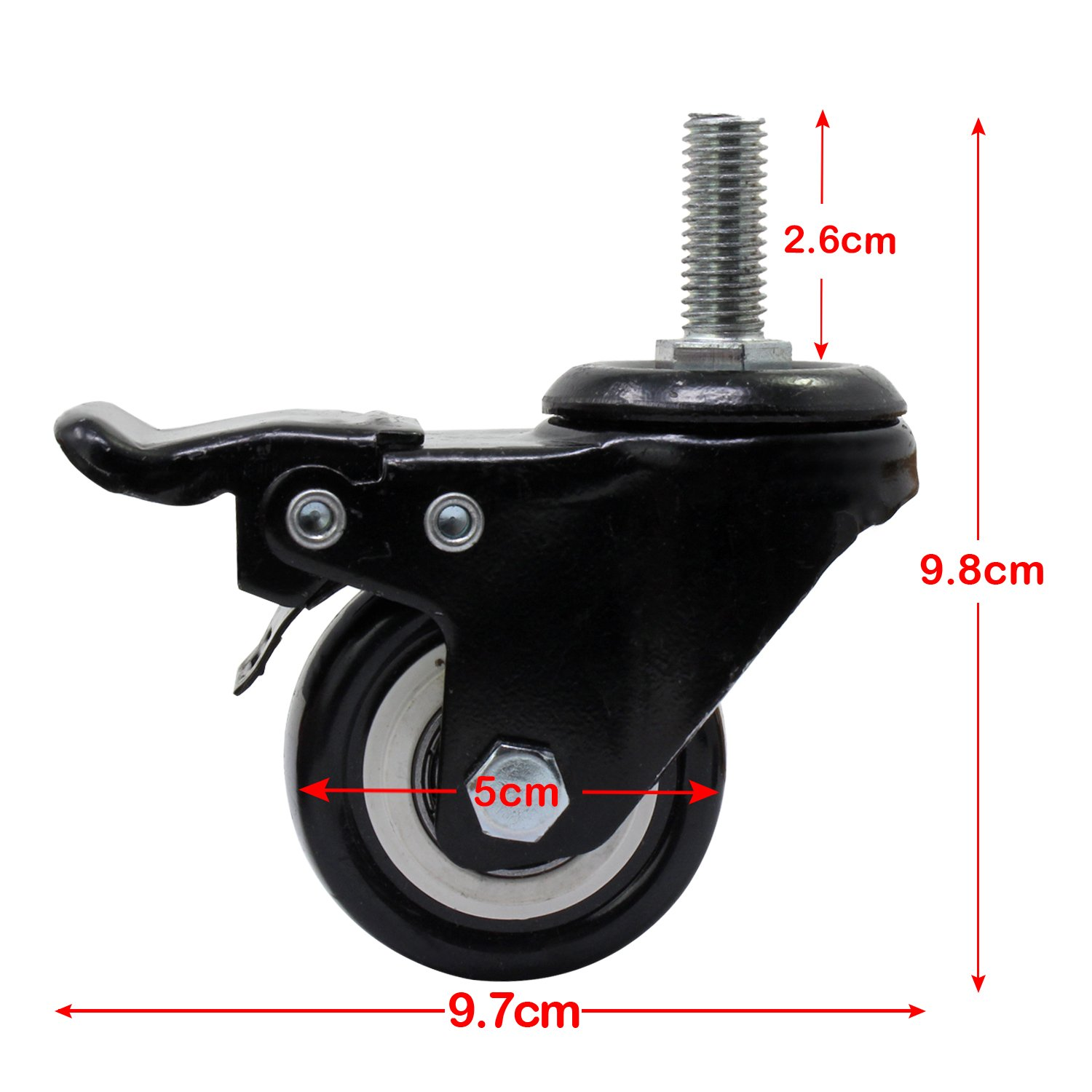 OCR 50MM Caster Rubber Base 360 Degree Caster Rubber Wheel With Brake for Shopping carts, Hand Trolley, Tools, Movable Furniture,Office Chair 4 Pcs Black (2''-Threaded shaft Wheel) by OCR (Image #3)