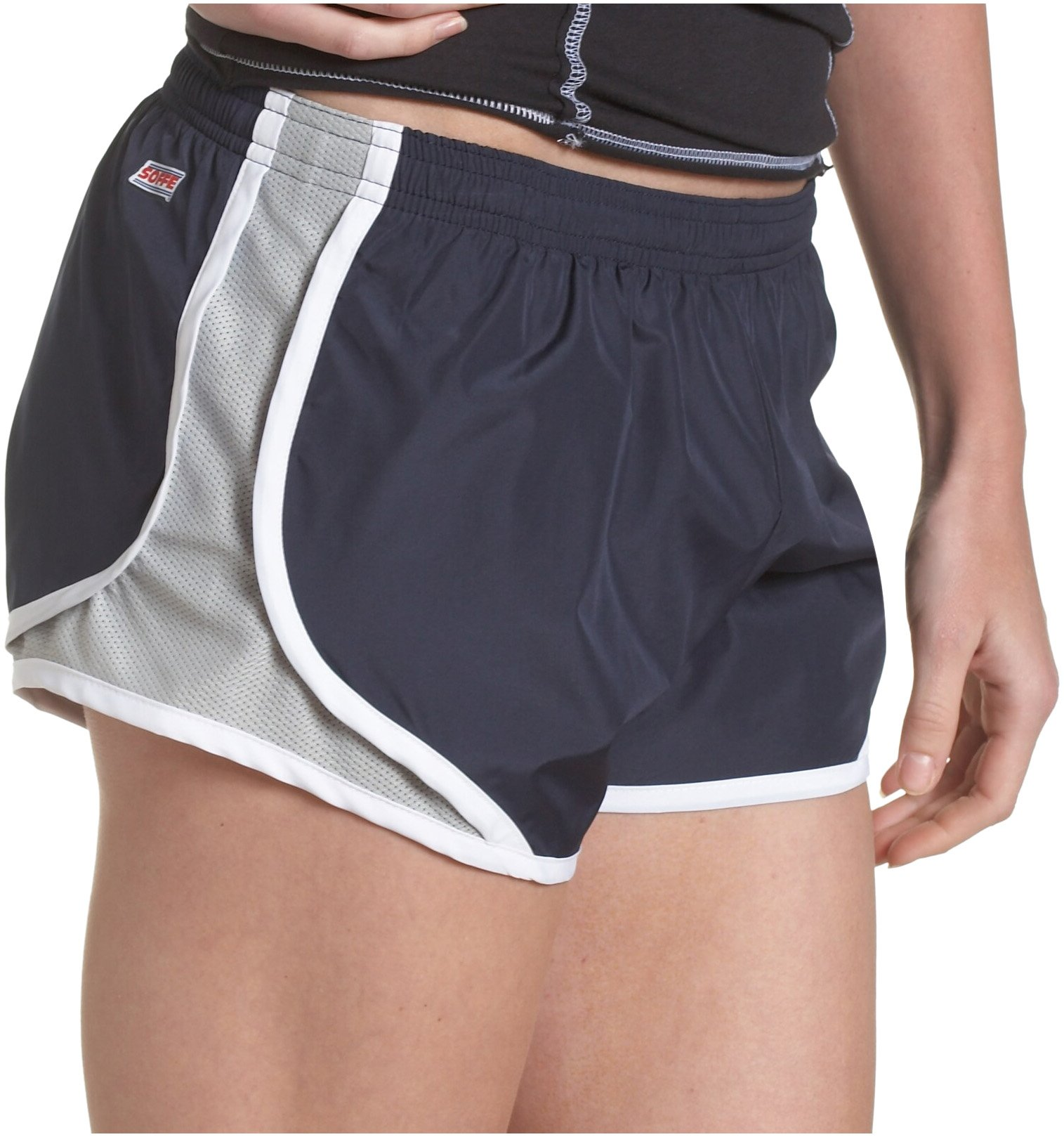 Soffe Women's Juniors' Team Shorty Shorts, Navy/Silver, Small by Soffe