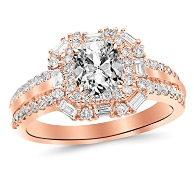9c7801dd232dc 1.2 Ctw 14K White Gold GIA Certified Cushion Cut Double Row Baguette and  Round Halo Diamond Engagement Ring, 0.5 Ct IJ VS1-VS2 Center