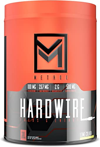 Hardwire – Premium Energy Focus Formula with Infinergy Caffeine, Teacrine, Huperzine, Choline, BCAA, Green Tea, Taurine, Superfruit Antioxidants, Electrolytes, More – 30 Servings Lime Colada