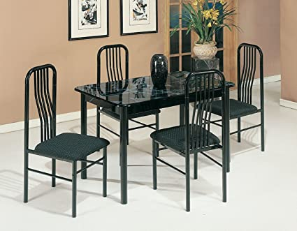 ACME 02406/7BK 5 Piece Hudson Faux Marble Top Dining Set, Black
