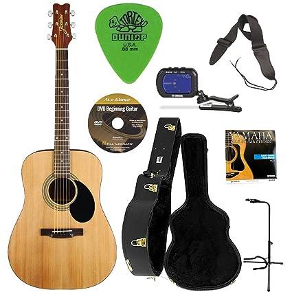 Jasmine S35 Guitarra Acústica (Natural) con carcasa funda para guitarra, soporte de guitarra
