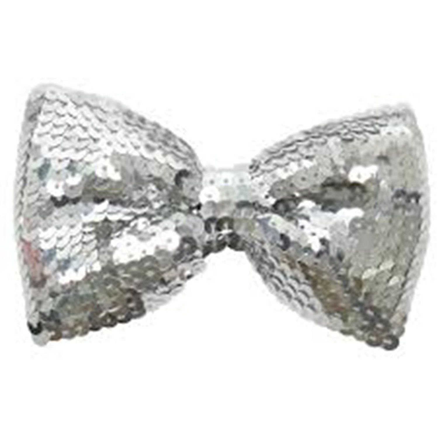 Sequin Bow Tie - Silver Accessory fancy dress warehouse 51581