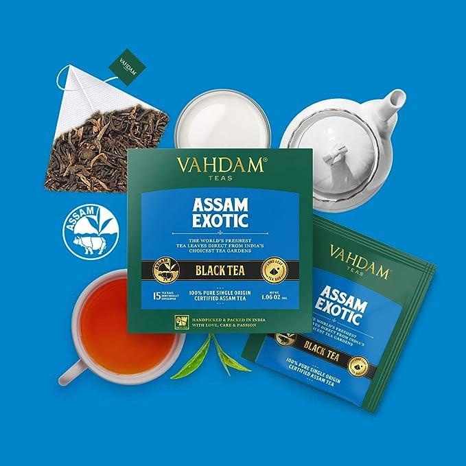 VAHDAM, té negro de Assam (30 bolsitas de té) - Bolsitas de té de hoja larga de Assam - RICH & MALTY - Bolsitas de té para el desayuno, grado FTGFOP1 ...