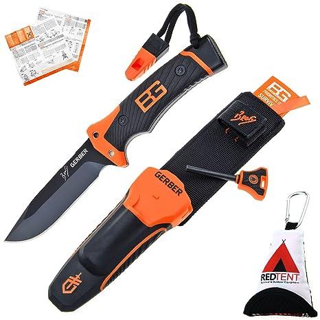 Gerber Bear Grylls Ultimate Pro Knife, cuchillo de supervivencia (con Holster, Fuegos Starter, afilador, silbato & survila Guía, incluye el redtent ...