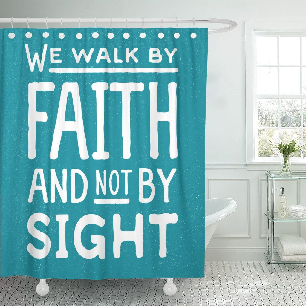 VaryHome Shower Curtain Word We Walk By Faith and Not Sight Design Retro Christian Scripture Bible Verse on Colored Beliefs Waterproof Polyester Fabric 72 x 72 inches Set with Hooks by VaryHome