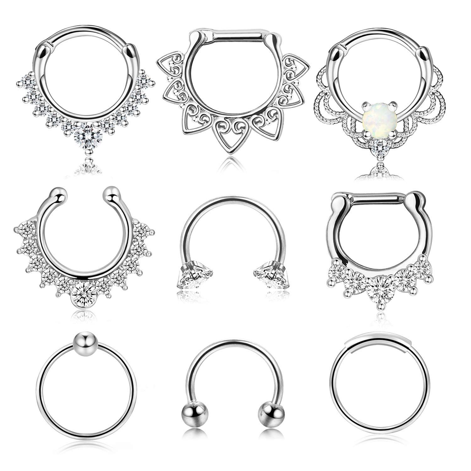 Udalyn 9 Pcs Stainless Steel Septum Hoop Nose Rings Cartilage Rings Clicker CZ Body Piercing Jewelry by Udalyn