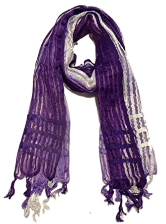 Boun Fashions Purple   white color viscose stripes scarf stole for women   Amazon.in  Clothing   Accessories 1aa21571333b5