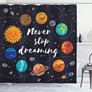 Ambesonne Saying Shower Curtain, Outer Space Planets Star Cluster Solar System Moon Comets Sun Cosmos Illustration, Cloth Fabric Bathroom Decor Set with Hooks, 84
