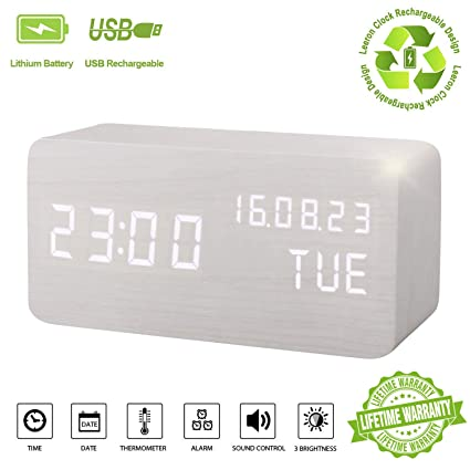Alarm Clock,Wood Digital Alarm Clock Displays Time Date Week and Temperature Sound Control Rechargeable LED Wooden Desk Clocks