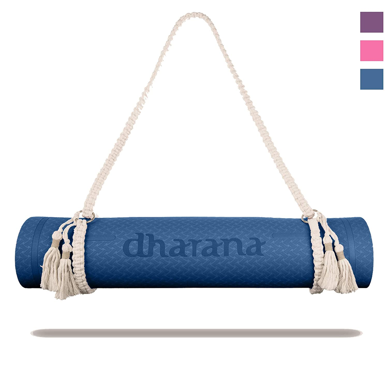 Dharana Esterilla Yoga Mat Antideslizante Profesional- Colchoneta Gruesa Para Deportes - Gimnasia Pilates Fitness - Ecológica - Accesorio Correa ...