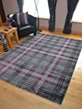 Modern Soft Purple Tartan Highland Check Rugs (67cm x 120cm)