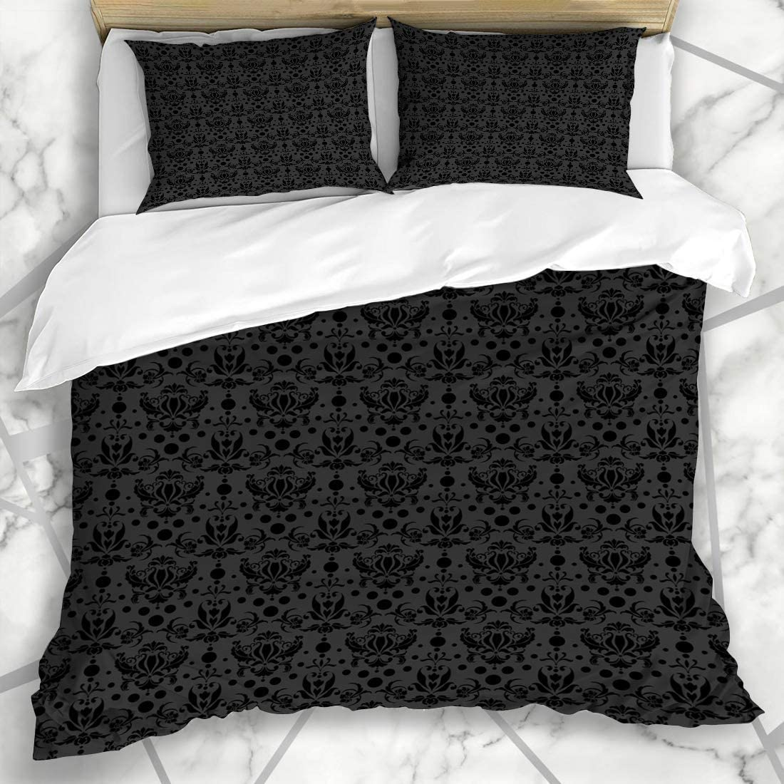 Amazon.com: Qoqon Duvet Cover Sets Rich Gray Pattern Black Damask Abstract  Intricate Antique Baroque Brocade Charcoal Old Microfiber Bedding with 2  Pillow Shams: Home & Kitchen