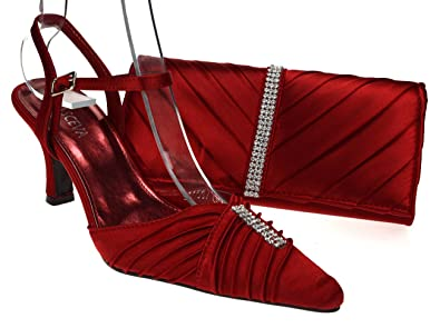 Browse For Chic Feet Womens Maroon/Burgundy Wedding Prom Evening Shoes & Matching Bagt