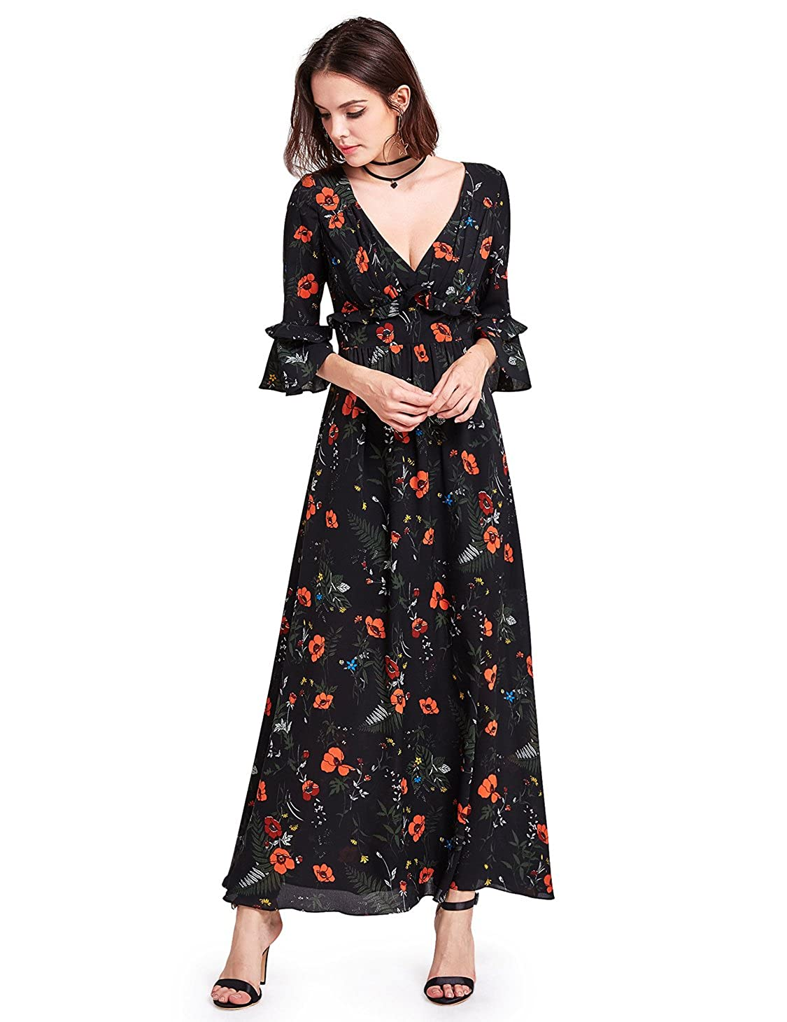 fe3b912a537 Alisapan V Neck Empire Waist Floral Print Maxi Dress with Long Sleeve 07170  at Amazon Women s Clothing store