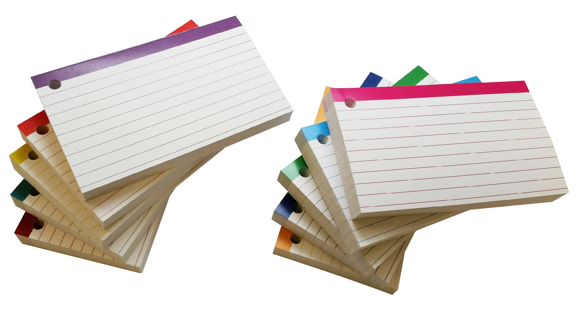 Debra Dale Designs - Color Bar Ruled Single Hole Punched Index Cards - 3 x 5 Inches - 500 (50 each of 10 colors) - Shrunk Wrapped - Standard 110# Index Card Stock - 199 GSM - 10 Metal Binder Rings