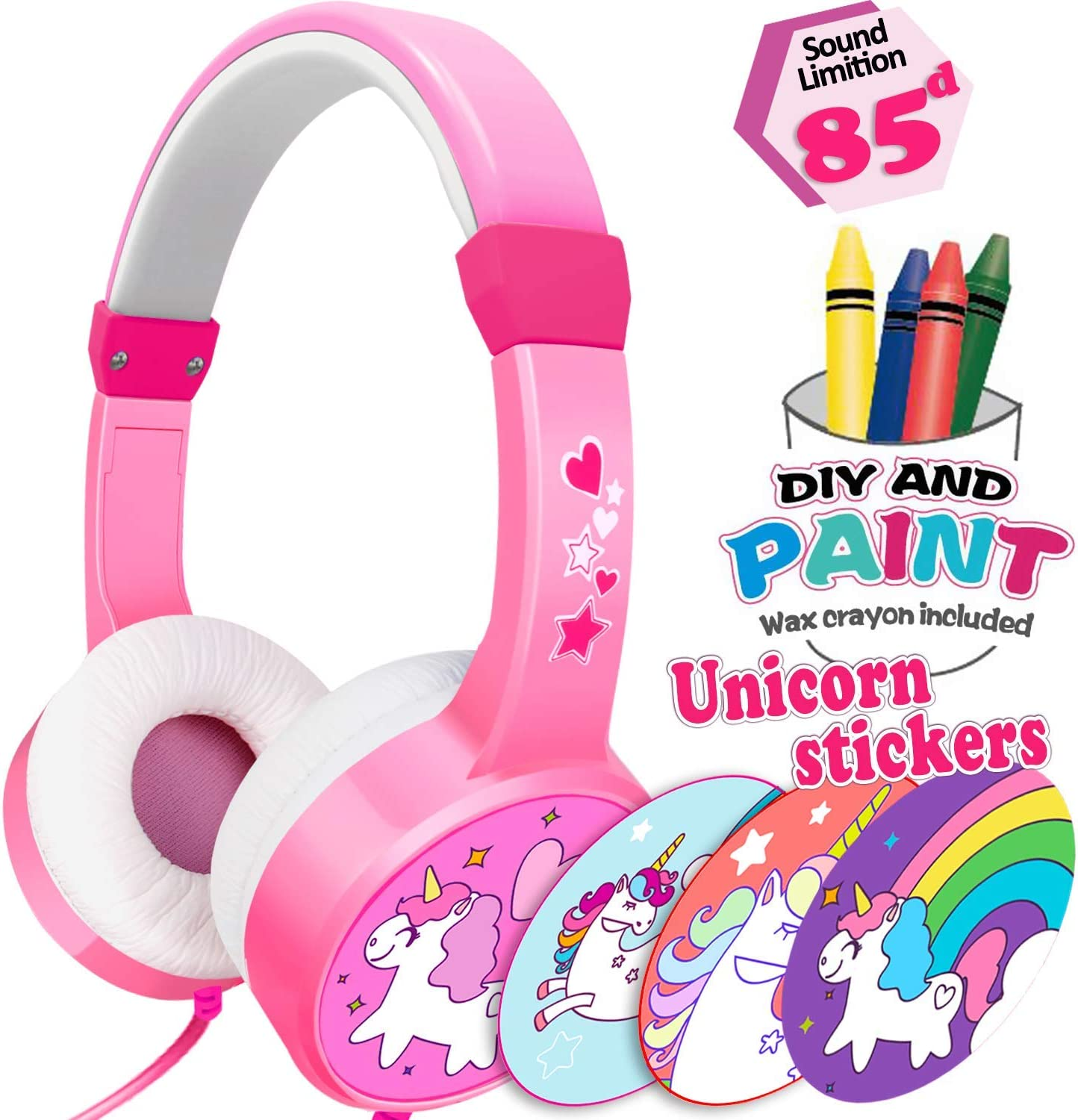 Unicorn Kids Headphones for Girls Boys Toddlers Over On Ear, Holiday Birthday Xmas Gifts for Kids Ages 3-9 Years Old, 85dB Volume Limited Safe Headset, Wired Headphone, Girls DIY Headband for Travel