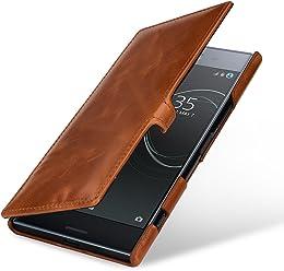 StilGut Book Type Case, custodia a libro booklet in vera pelle per Sony Xperia XZ Premium con funzione on/off integrata, Cognac con Clip