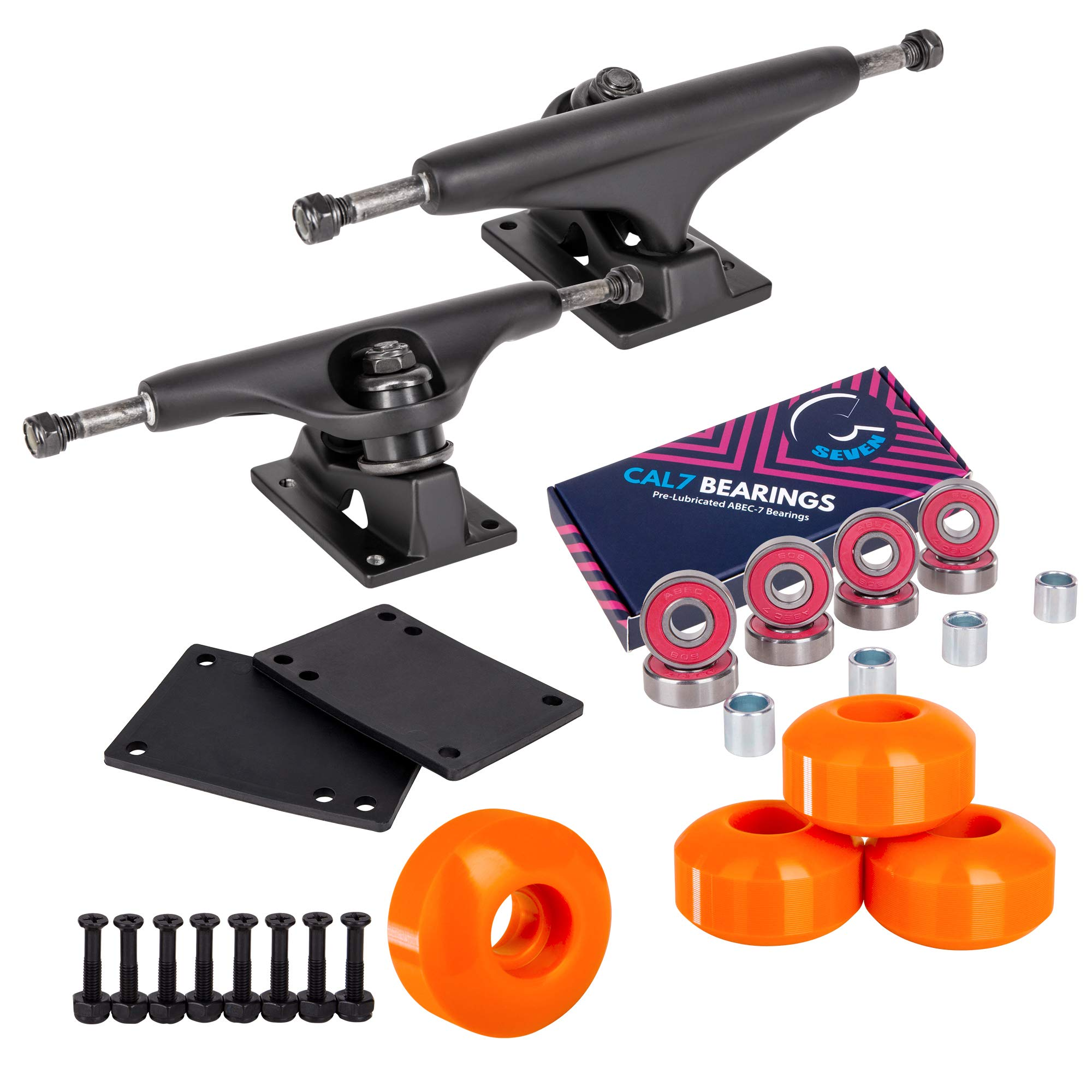 Cal 7 Skateboard Package, Complete Combo Set with 5.5 Inch Quality Aluminum Trucks, 52mm 99A Wheels, Bearings & Hardware (Orange) by Cal 7