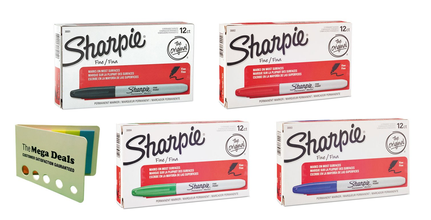 Sharpie Permanent Markers, Fine Point; 1 Dozen Black Markers, 1 Dozen Red Markers, 1 Dozen Blue Markers, and 1 Dozen Green Markers (Total of 48 Markers) | Includes 5 Color Bright Flag Set