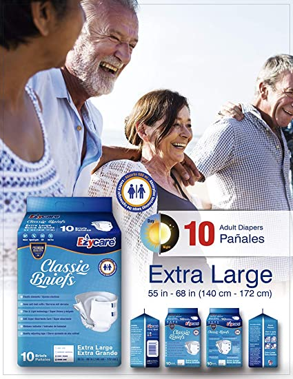 Amazon.com: Ezycare Protective Incontinence Adult Diaper Classic Brief Maximum Absorbency with Adjustable Tabs for Men and Women 10 Count (X-Large): Health ...