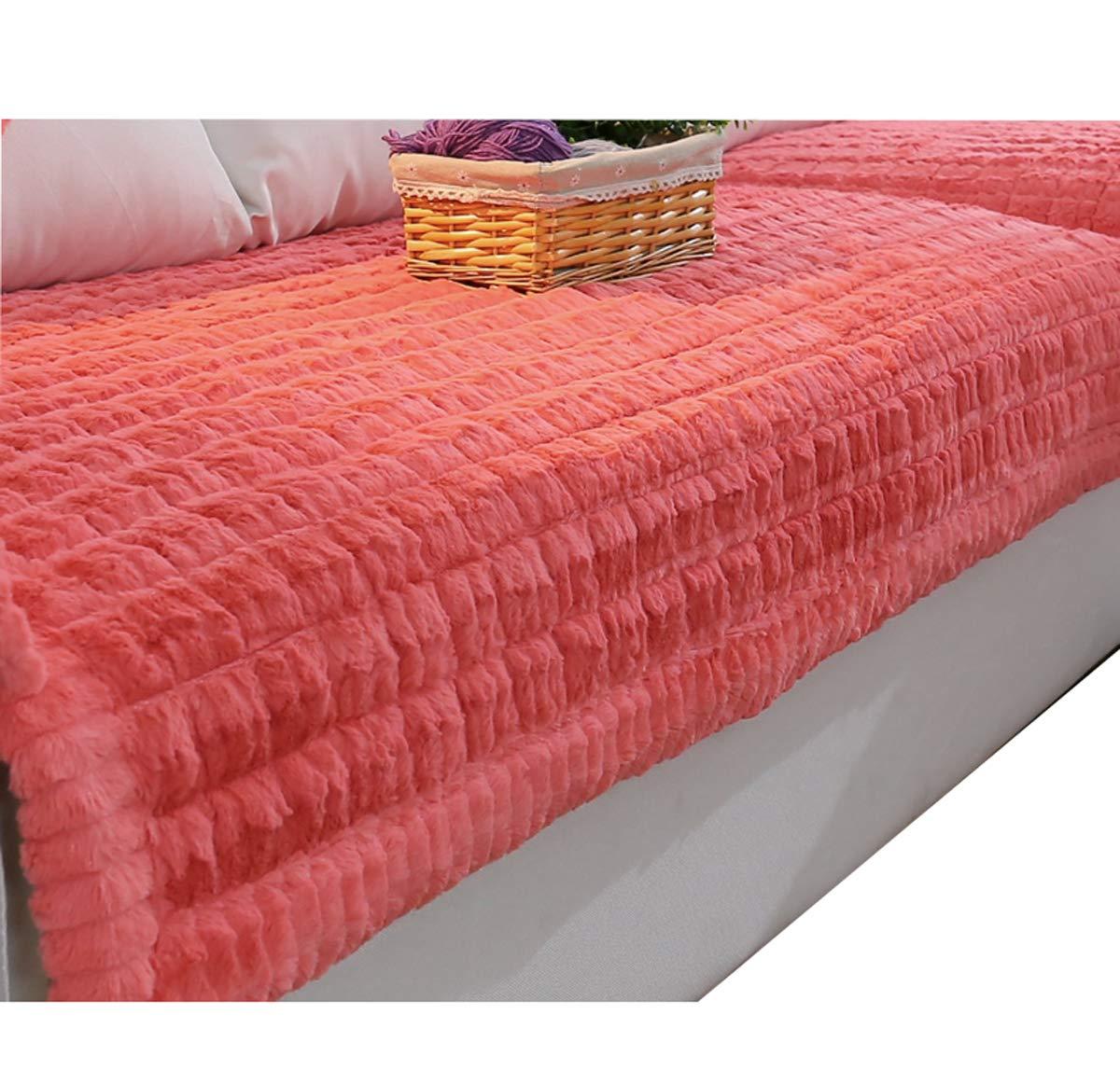 DFamily Felpa Funda Cubre sofá Protector de sofá Muebles Invierno,Espesar,Máquina de washble Protector de los Muebles-Rosado 90x120cm(35x47inch)(1 Pieza)