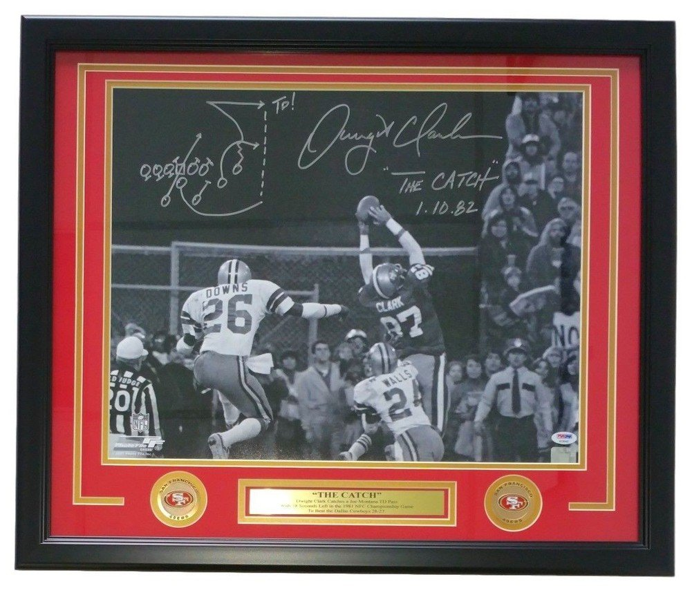 Dwight Clark Signed Autographed Framed Sf 49Ers 16x20 The Catch Photo Play  Drawn PSA at Amazon's Sports Collectibles Store