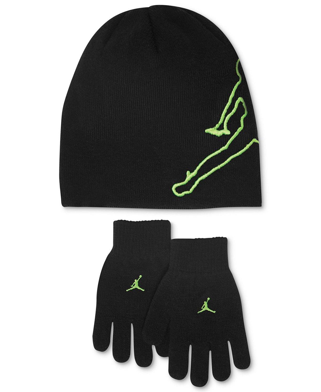 Nike Jordan Boys Winter Hat Beanie Cap Gloves Set Youth 4/7,Black/Neon