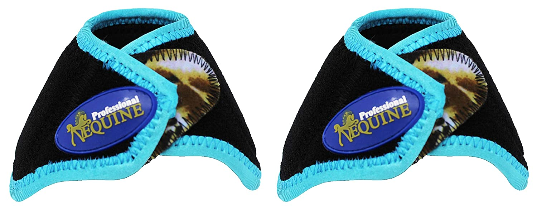 Black Turquoise Wild Professional Equine Horse Medium Sports Medicine Splint Bell Boots 41E